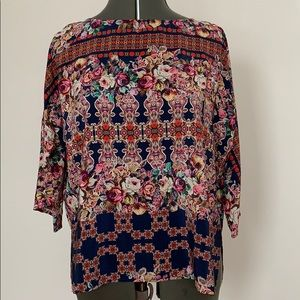 Anthropologie Kachel Silk Garden Tapestry Top sz 4